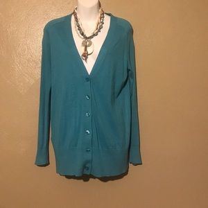 Loft teal button down sweater size Small